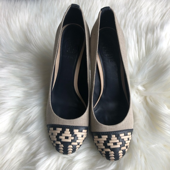 d932d7f3510 Tory Burch Canvas and Leather Weave Toe Pumps